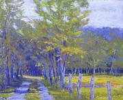 Color Purple Pastels Prints - Path To The Creek Print by Jean Neely