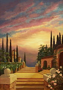 Cypress Trees Prints - Patio il Tramonto or Patio at Sunset Print by Evie Cook