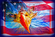 Animal Flag Art Framed Prints - Patriotic EYEcon Framed Print by Donna Proctor