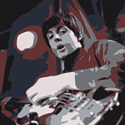 Paul Mccartney Hofner Bass Prints - Paul Print by Philip Guiver