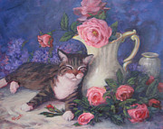 Still Life With Pitcher Framed Prints - Peace Cat with Pink Roses Framed Print by Sue Cervenka