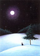 Snowy Night Night Drawings Posters - Peace Poster by Danielle R T Haney