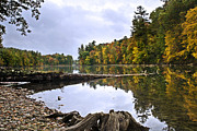 Ny Landscape Digital Art Posters - Peaceful Autumn Lake Poster by Christina Rollo