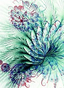 Abstract Flowers Prints - Peacock Tail Print by Anastasiya Malakhova