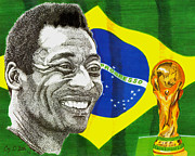 Soccer Drawings Prints - Pele Print by Cory Still