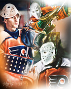 Nhl Digital Art Posters - Pelle Lindbergh Poster by Mike Oulton