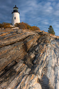 Maine Lighthouses Framed Prints - Pemaquid Point Light II Framed Print by Clarence Holmes