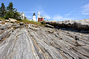 Rocky Maine Coast Posters - Pemaquid Point Lighthouse in Maine Poster by Olivier Le Queinec