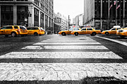 Nyc Taxi Framed Prints - Penn Station Yellow Taxi Framed Print by John Farnan