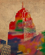Series Mixed Media Posters - Penobscot Building Iconic Buildings of Detroit Watercolor on Worn Canvas Series Number 5 Poster by Design Turnpike