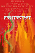 Pentecost Framed Prints - Pentecost Fires Framed Print by Chuck Mountain