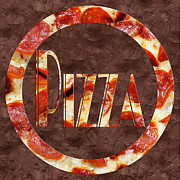 Mozzarella Prints - Pepperoni Pizza Typography 1 Print by Andee Photography