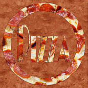 Italian Restaurant Mixed Media Prints - Pepperoni Pizza Typography 2 Print by Andee Photography