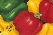Produce Drawings Prints - Peppers Print by Troy Argenbright