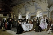 1833 Prints - Perov, Vasily 1833-1882. The Refectory Print by Everett
