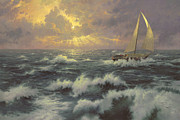 Sailboat Ocean Metal Prints - Perseverance Metal Print by Thomas Kinkade