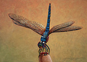 Insect Paintings - Pet Dragonfly by James W Johnson
