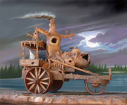 Nightmare Framed Prints - Phantom Steam Tractor Framed Print by Stuart Swartz