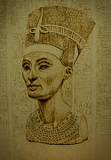 Portrait Pyrography Prints - Pharaoh Print by Raz Mohammad Amir