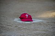 Home Plate Metal Prints - Phillies Hat on Home Plate Metal Print by Bill Cannon