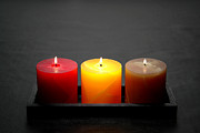 Candle Lit Prints - Pillar Candles Print by Olivier Le Queinec
