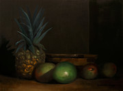 Wooden Bowl Paintings - Pineapple And Mangoes by Steven Allen Boggs