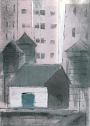 Printmaking Mixed Media - Pink Buildings by Steve Dininno