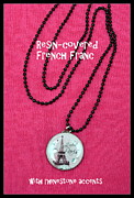 Glass Necklace Jewelry Posters - Pink I Adore Paris Poster by Carla Parris