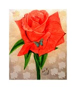 Virtues Prints - Pink Rose 1 Painting by Saribelle Rodriguez Print by Saribelle Rodriguez