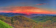 Leave Prints - Pink Sunrise At Skyline Drive Print by Metro DC Photography