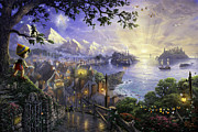Disney Framed Prints - Pinocchio Wishes Upon a Star Framed Print by Thomas Kinkade