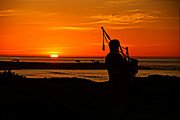 Bagpiper Framed Prints - Piper at Pebble Beach Framed Print by Randy Straka