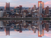 City Art - Pittsburgh Sunset Reflection by Cityscape Photography