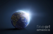 Global Digital Art - Planet Earth And Sunlight On A Dark by Evgeny Kuklev