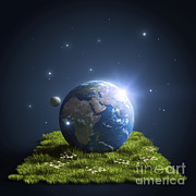 Global Digital Art - Planet Earth Lying On A Green Lawn by Evgeny Kuklev