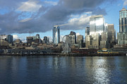 Seattle Waterfront Photos - Platinum City Through a Rainy Window by Ronda Broatch