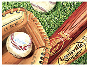 Baseballs Painting Posters - Play Ball Poster by Rick Mock