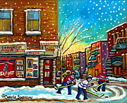 Hockey Painting Framed Prints - Pointe St. Charles Hockey Game At The Depanneur Montreal City Scenes Framed Print by Carole Spandau