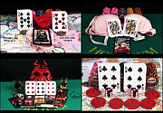 Hands Images Posters - Poker Hands Collage Poster by John Rizzuto