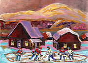 School Houses Painting Posters - Pond Hockey Cozy Winter Scene Poster by Carole Spandau