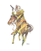 Country And Western Drawings - Pony Express Rider by Peter Melonas