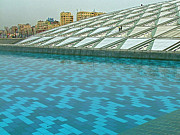 Library Digital Art - Pool and Roof of Alexandria Library by Ruth Hager