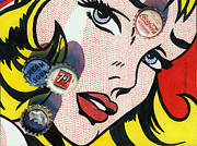 Lichtenstein Framed Prints - Pop Caps and Pop Art II Framed Print by Marguerite Chadwick-Juner