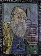 Wine Barrel Paintings - Popcorn Sutton - Heavens Bootlegger by Eric Cunningham