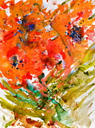 Pour Painting Posters - Poppies in a Hurricane Poster by Beverley Harper Tinsley