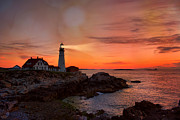 Maine Lighthouses Framed Prints - Portland Flash Framed Print by Emily Stauring
