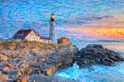 Clarence Holmes - Portland Head Light at Sunrise Impasto I