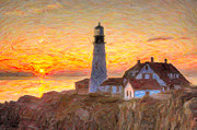 Clarence Holmes - Portland Head Light at Sunrise Impasto...
