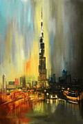 Featured Painting Originals - Portrait of Burj Khalifa by Corporate Art Task Force
