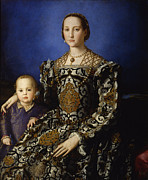 Gown Paintings - Portrait of Eleonora of Toledo with her Son Giovanni by Bronzino
